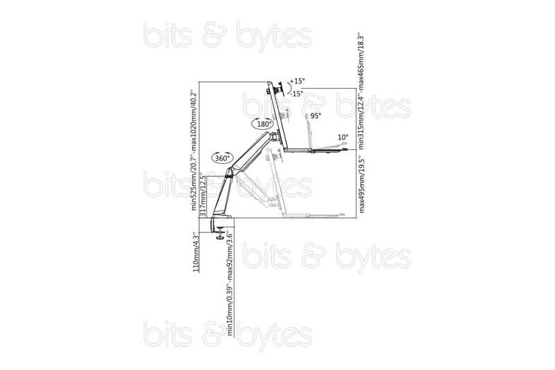 Digitus DA-90381 Ergonomic Workspace Height Adjustable Desk Mount