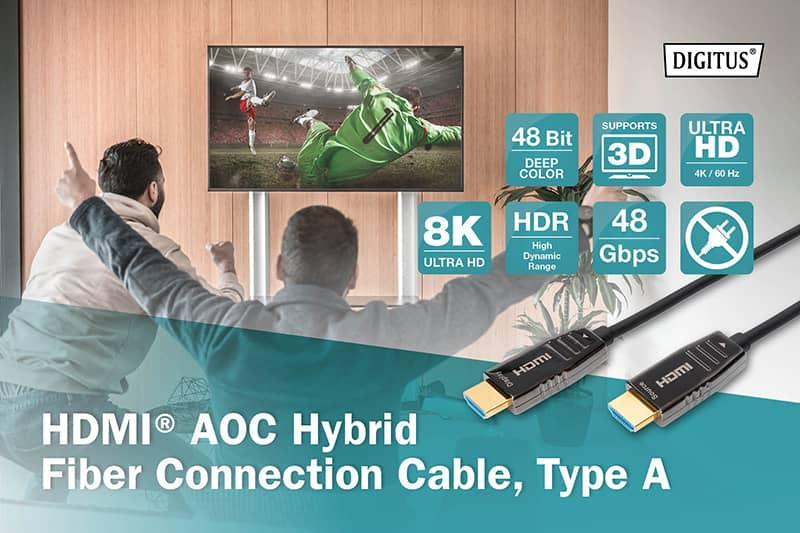 30m Active HDMI v2.1 AOC Hybrid Fiber Optic Plug to Plug Cable