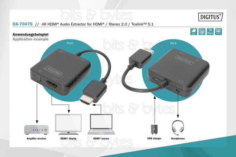 Digitus 4K HDMI (input) to HDMI + Toslink & 3.5mm Jack (output) Audio Extractor